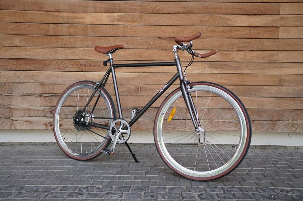 Bicicleta fixie beige